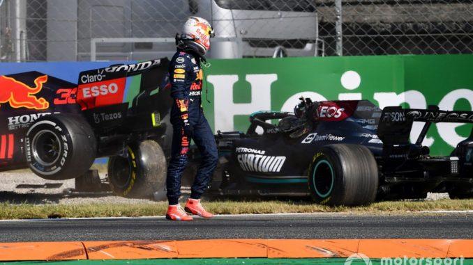 Max y hamilton accidente Monza